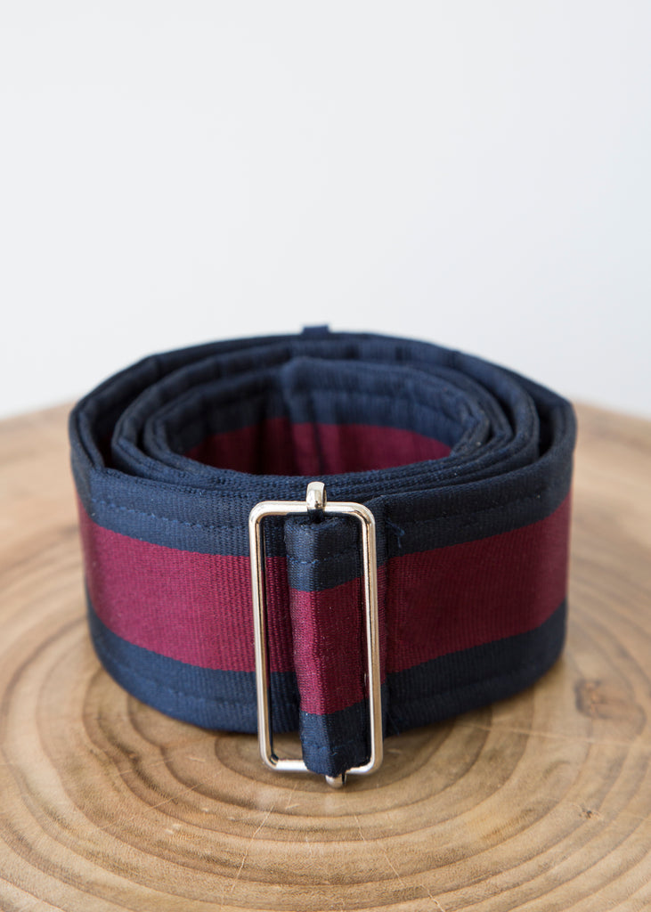 Tome Silk Striped Belt with Buckle Navy