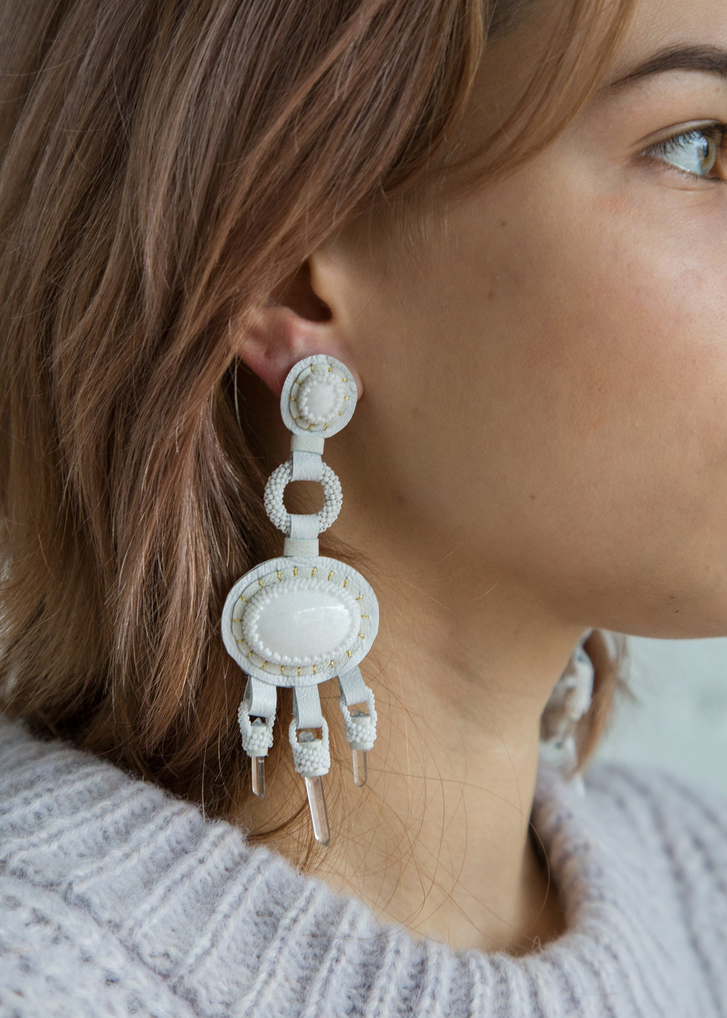 Chandelier Earrings in White Mountain Jade