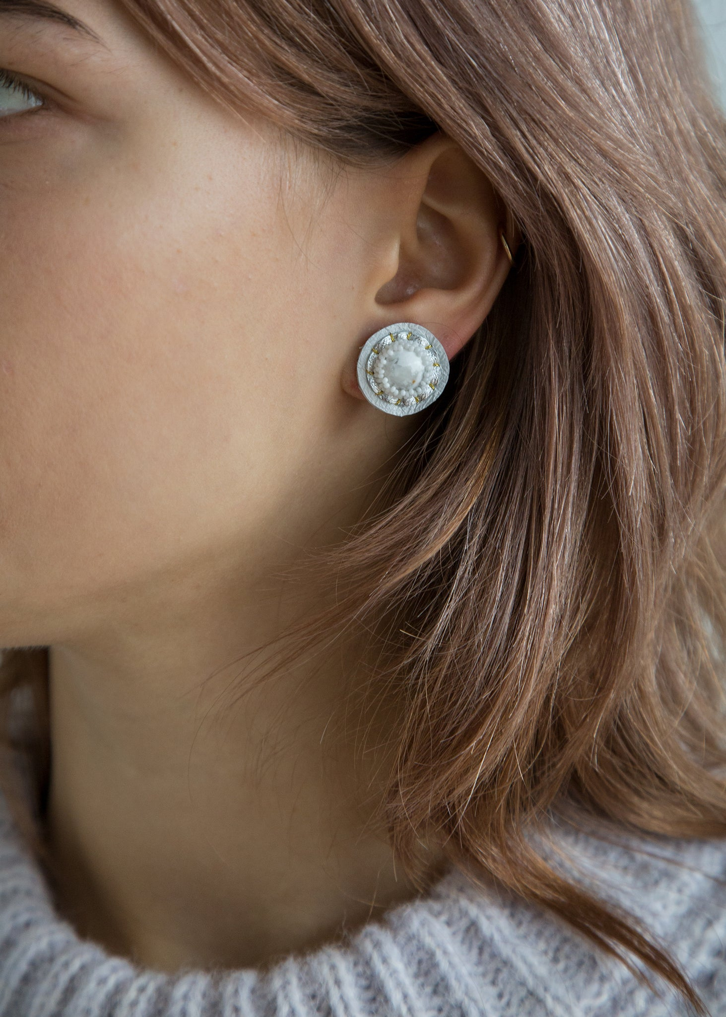 Stud Earring in White Howlite