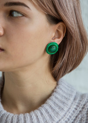 Robin Mollicone Button Earring Malachite - SOLD OUT
