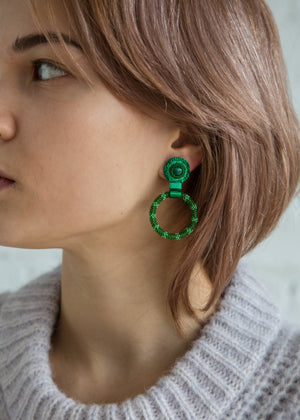 Small Beaded Hoop Earring in Malachite