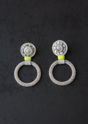 Robin Mollicone Small Beaded Hoop Earrings White Howlite/Neon