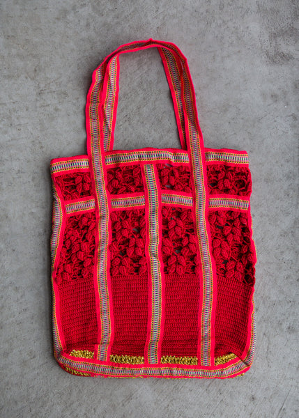 M. Patmos Magpie Laced Tote Red/Coral