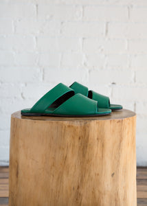 Slashed Slide Sandal in Verde Nappa