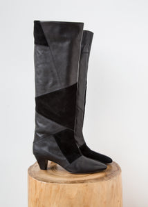 Isabel Marant Etoile Patch Leather Boots Black $296