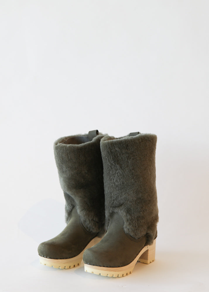 No. 6 Alpha Shearling Clog Boot in Storm Suede