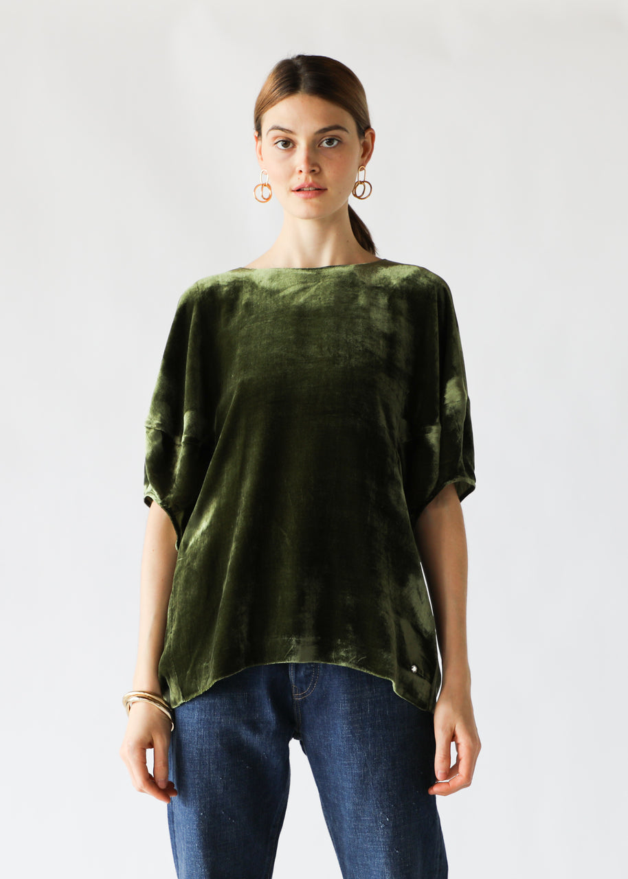 Puff-Sleeve Top in Olive