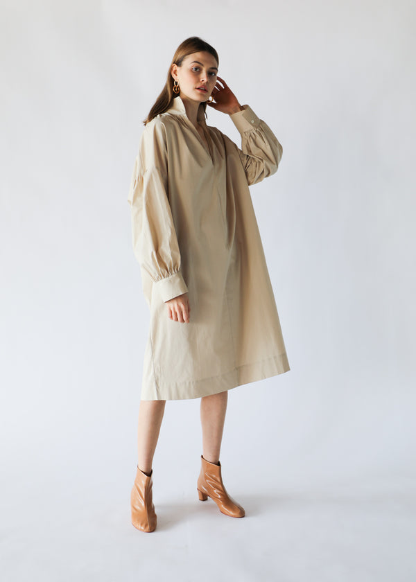 Open Collar Dress in Beige