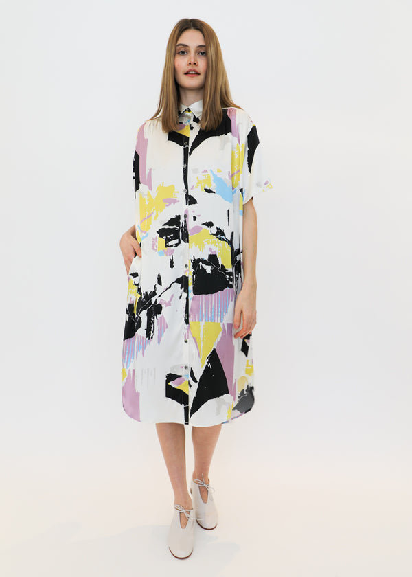 Printed Silk Oversized Shirt Dress in White