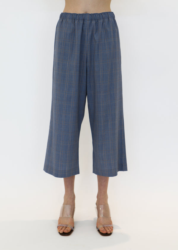 Wide Leg Pull On Pant in Blue Plaid