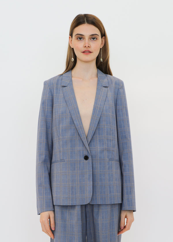 Mini Lapel Blazer in Blue Plaid