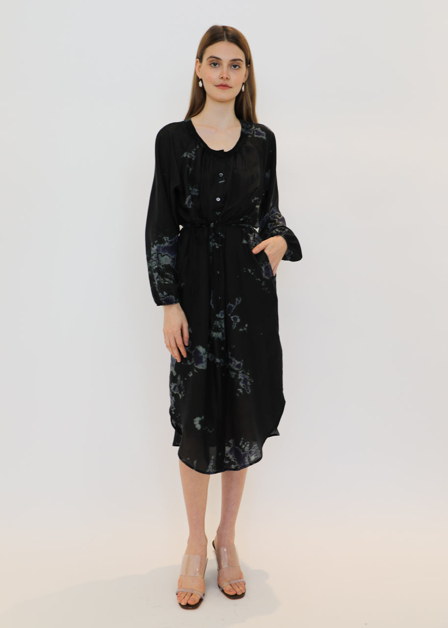Poet Combo Dress in Black Sky