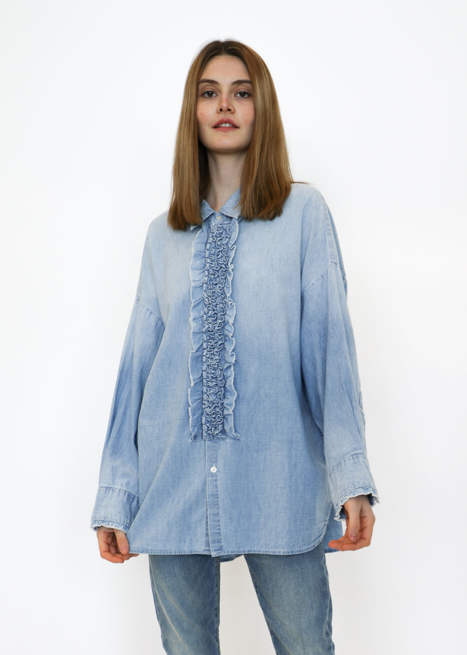 Drop Neck Tuxedo Shirt in Nell Blue