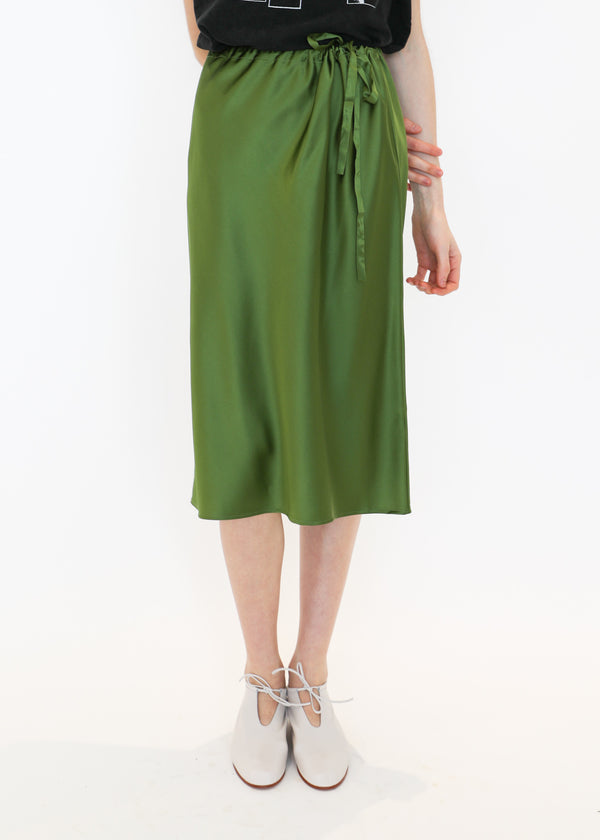Charmeuse Drawstring Skirt in Green