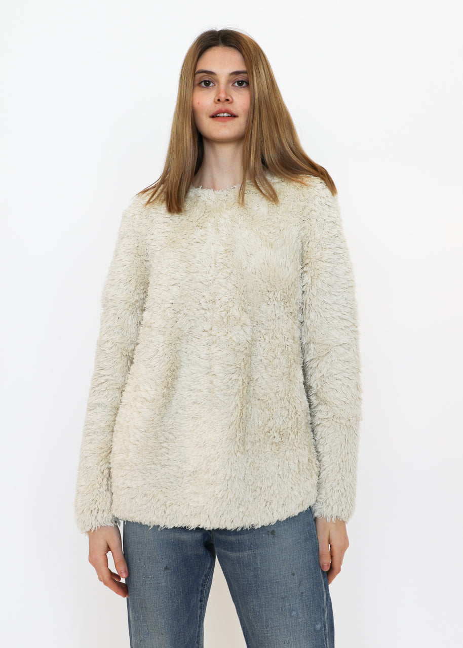 Handknit Tuft Pullover in Cream