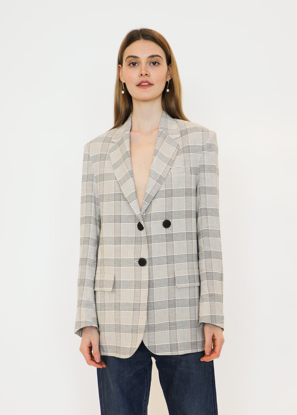 Oversized Tailored Jacket in Beige Plaid