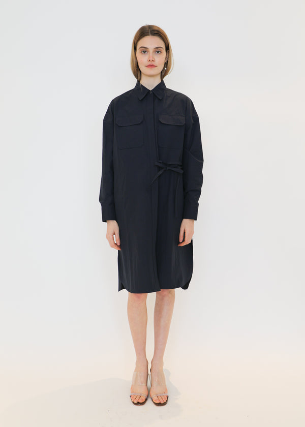 Oversized Shirt Dress in Navy