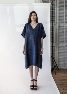 Kaftan in Blue Plaid