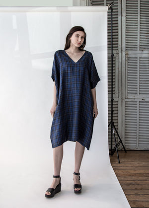 Kaftan in Blue Plaid - SOLD OUT