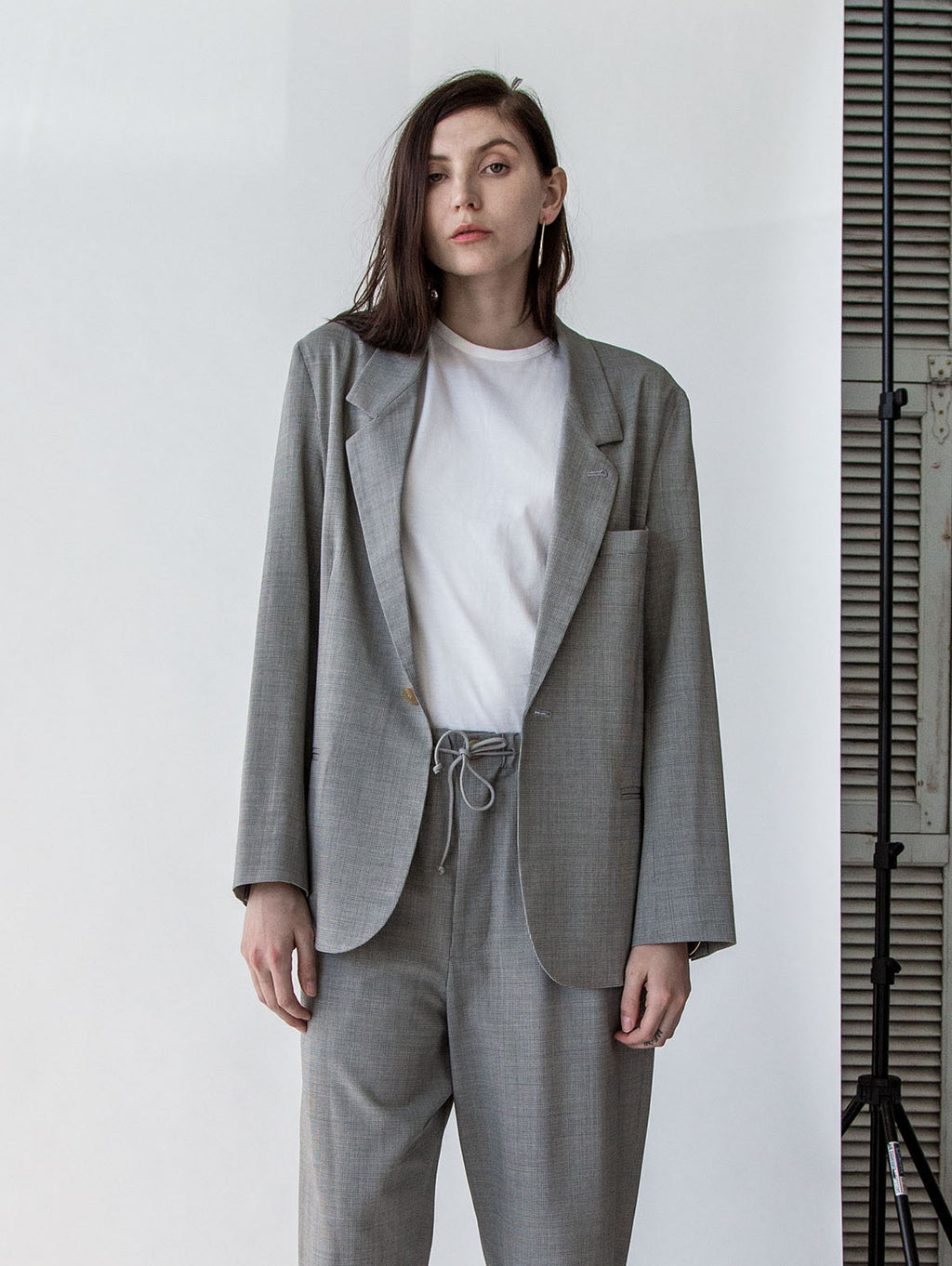 Oversized Blazer in Grey Mini Houndstooth - SOLD OUT