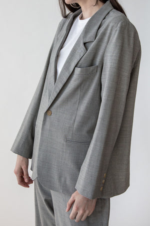 Oversized Blazer in Grey Mini Houndstooth