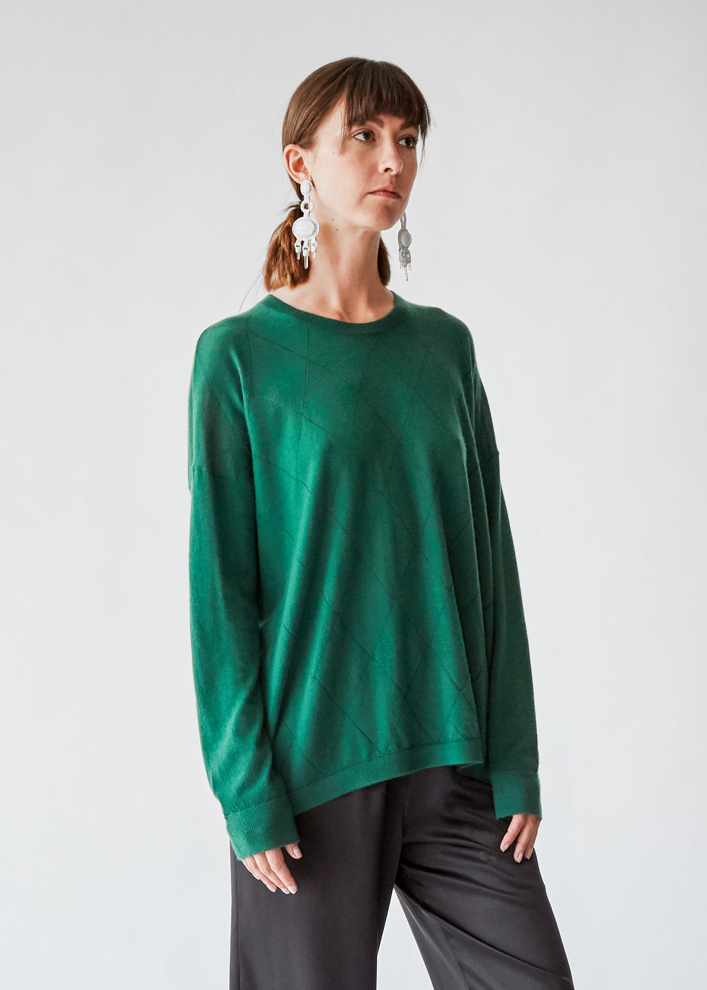 Pointelle Crewneck in Green Cashmere