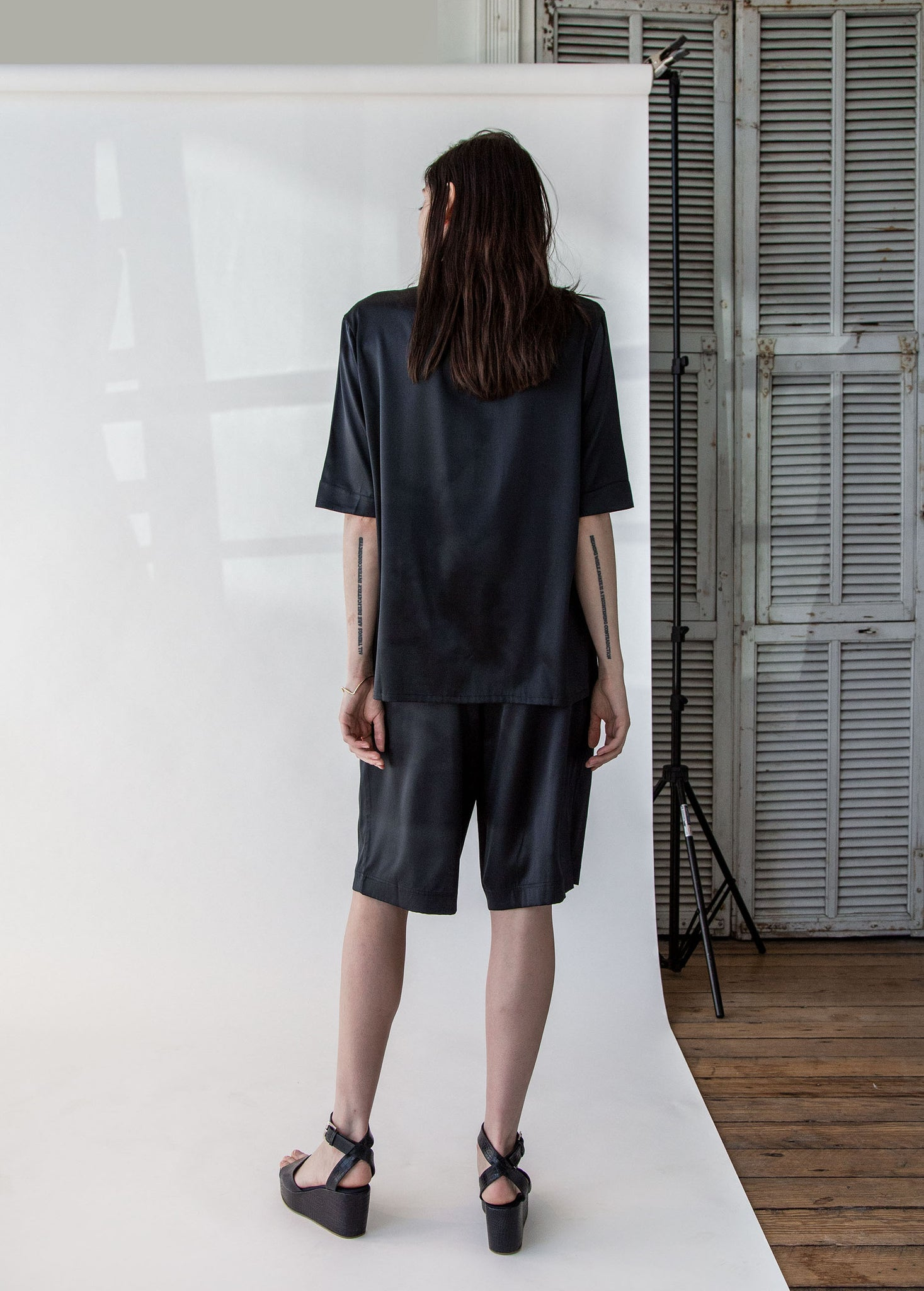 Short Sleeve PJ Top in Black