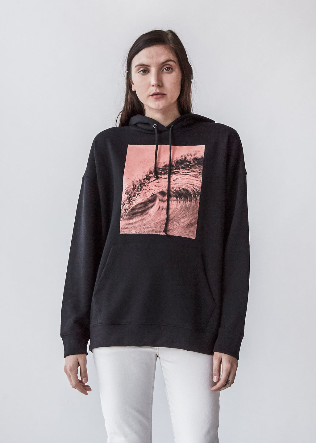 Wave Long Sleeve Hoodie in Black Graphic