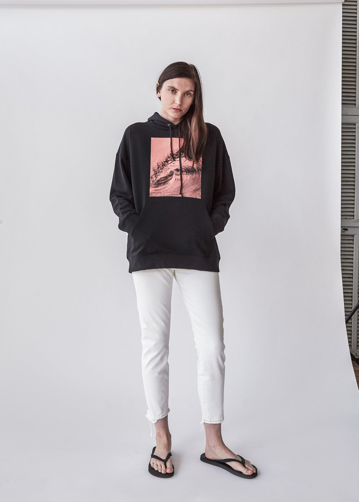 Wave Long Sleeve Hoodie in Black Graphic - SOLD OUT