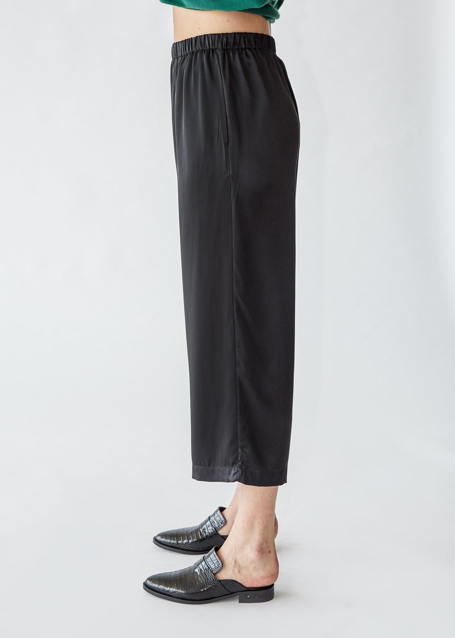 Wide Leg Pull On Pant in Black Silk Charmeuse