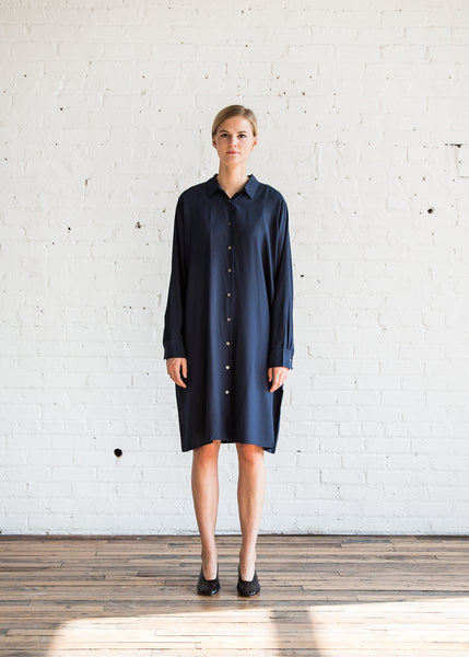 6397 Silk Housecoat Dress Navy