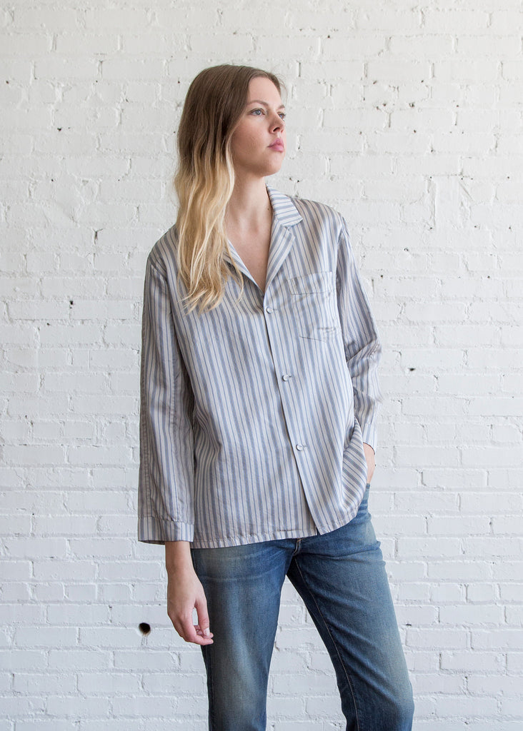 6397 Striped PJ Shirt Grey/Navy