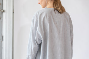 Oversized Collarless Shirt in Navy Stripe