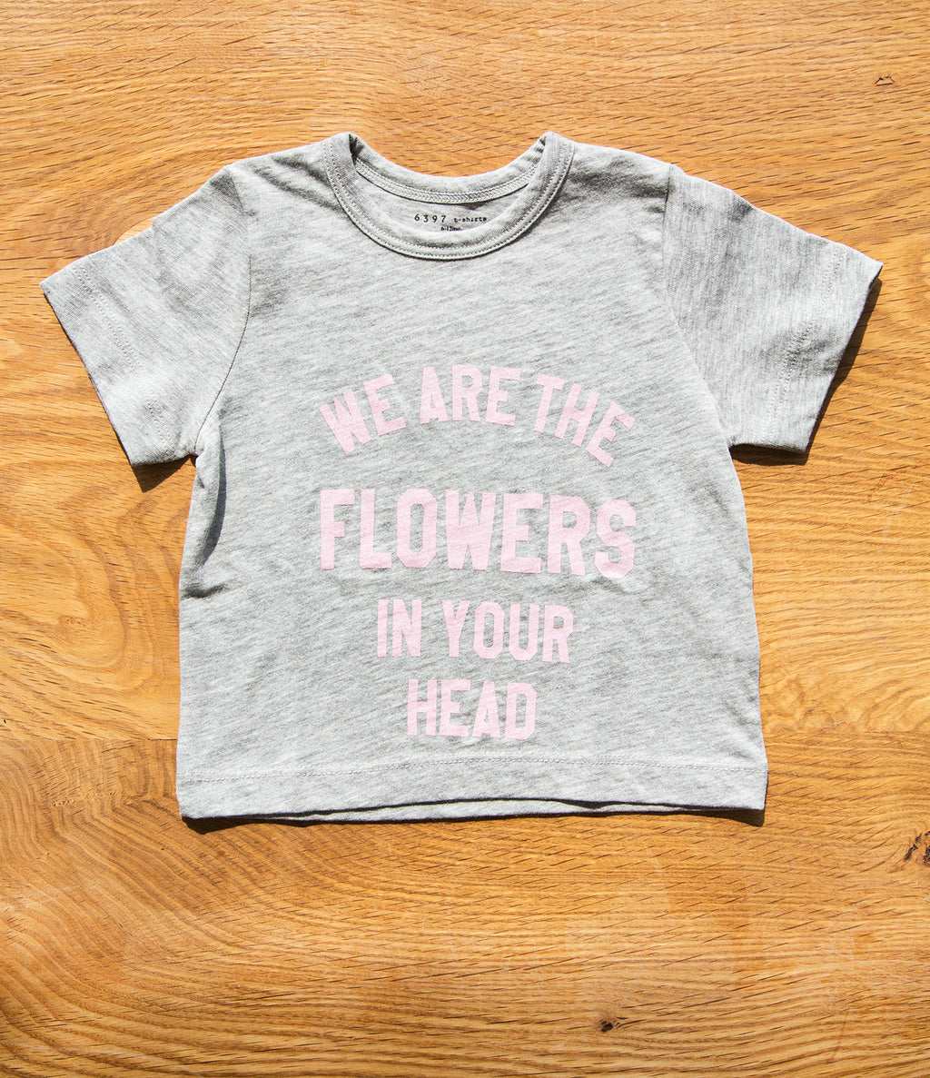 "6397 Mini Tiny Tee ""Flowers"" Heather Grey"