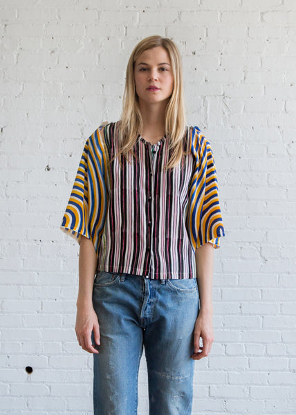 Anntian Circle Arms Blouse Print Paint Stripes