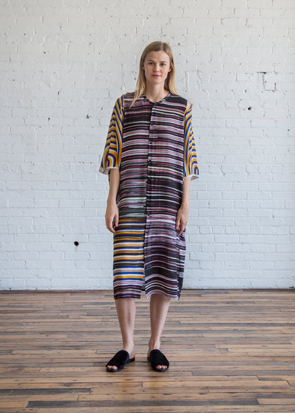 Anntian Circle Arm Dress Print Paint Stripes