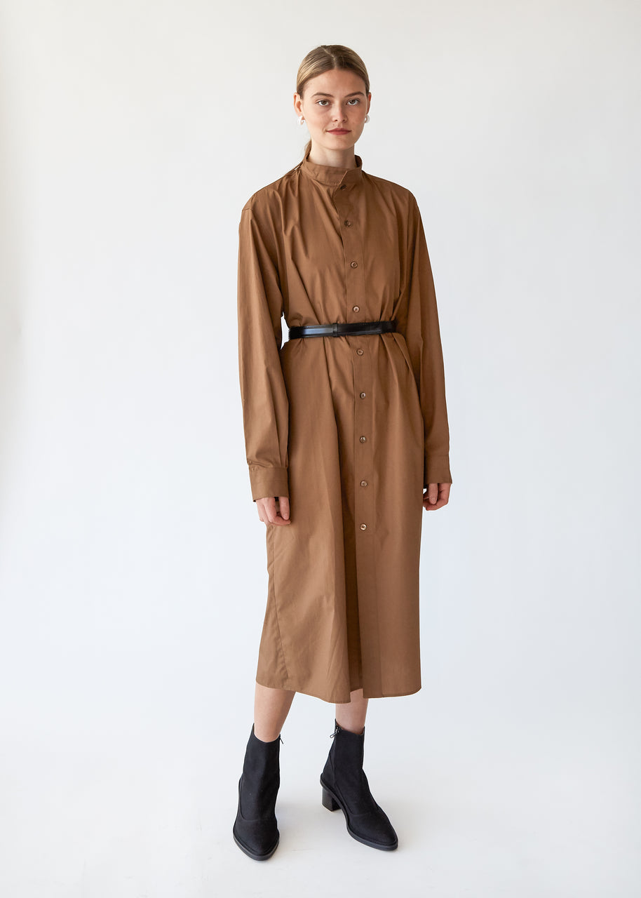 Cotton Dress Full Button in Camel