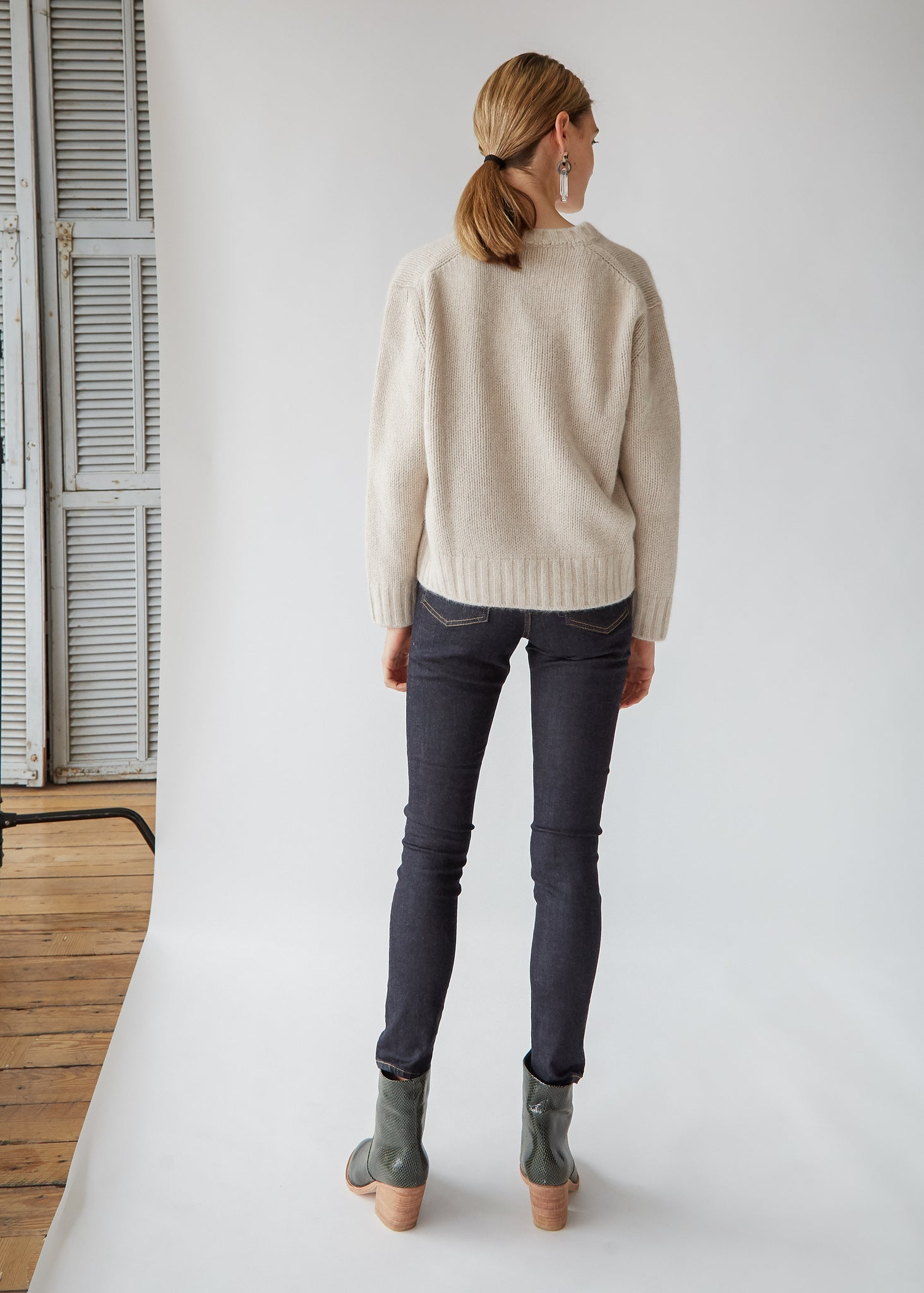 Knit V Sweater in Beige