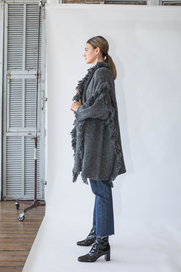 Haori Coat with Fringes in Charcoal