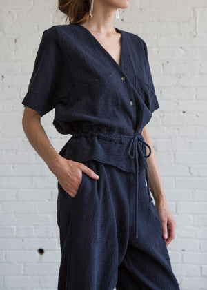 Black Crane S/S Sack Jumper Navy
