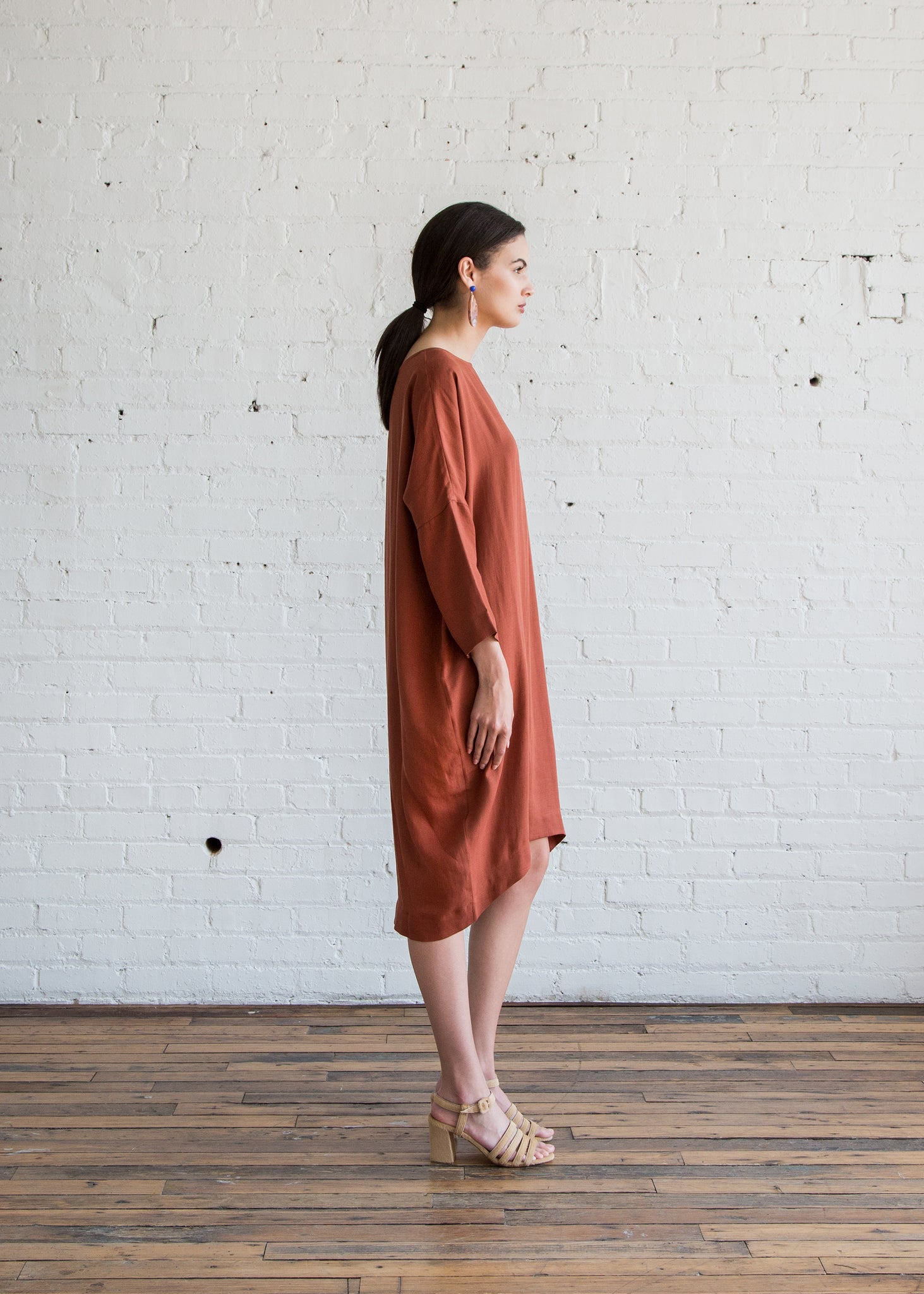 Black Crane Bud Dress Brick Tencel - SOLD OUT