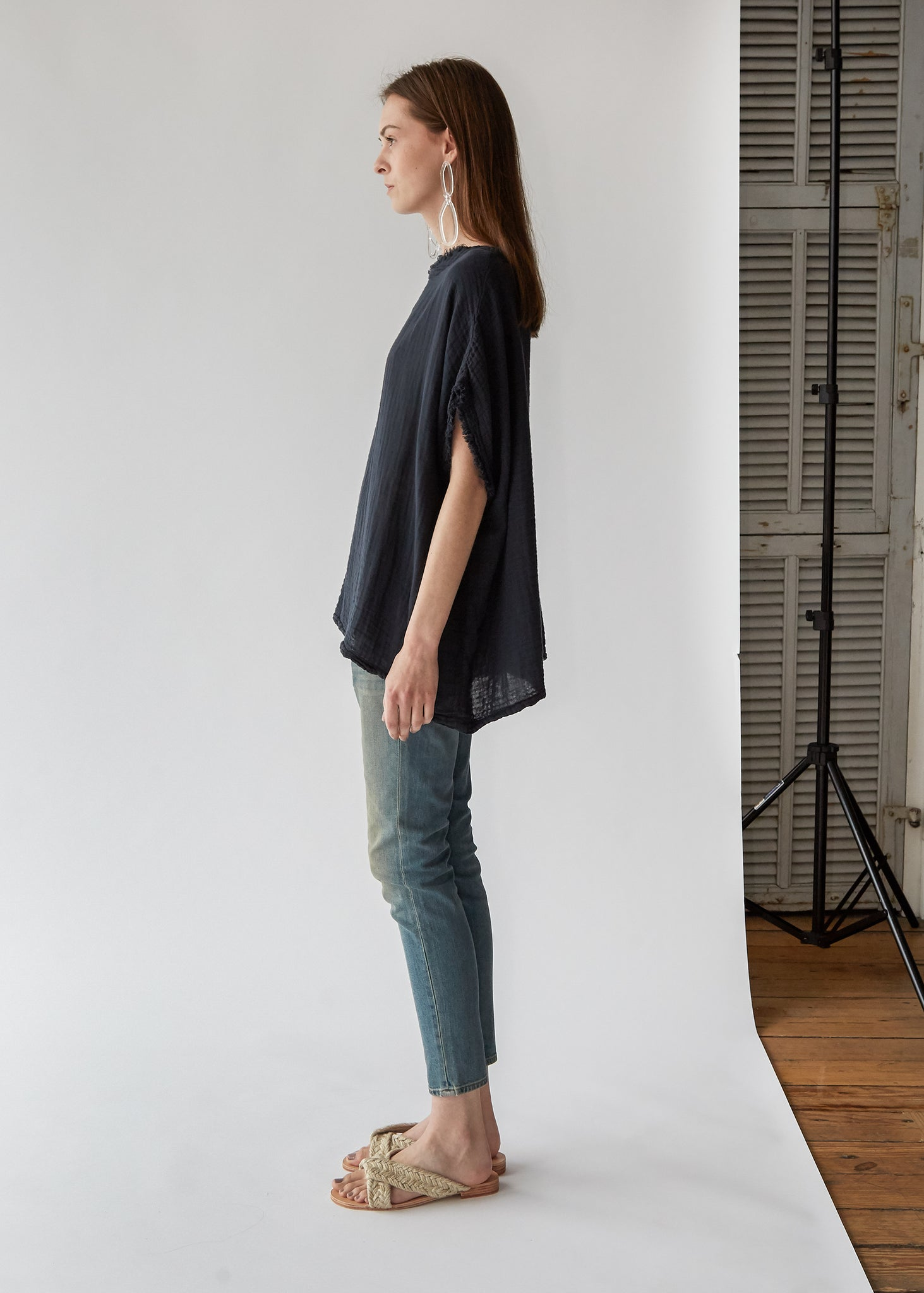 Double Gauze Top in Dark Navy - SOLD OUT