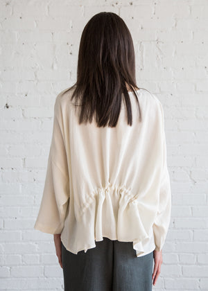 Black Crane Gathered Top Cream Tencel - SOLD OUT