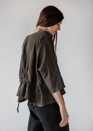 Gathered Top in Charcoal - SOLD OUT