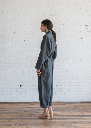 Black Crane High Neck Jumpsuit Dark Grey