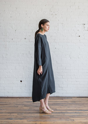 Black Crane Pleated Cocoon Dress Dark Green Tencel - SOLD OUT