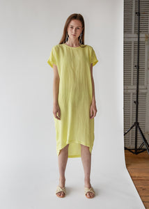 Pleated Cocoon Dress in Lemon - SOLD OUT