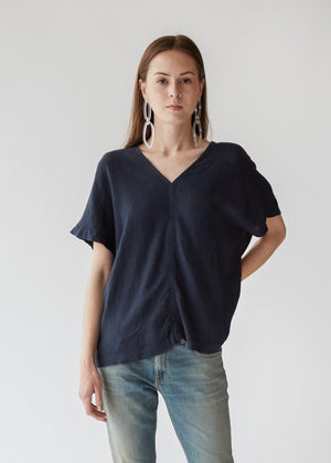 Y Top in Dark Navy