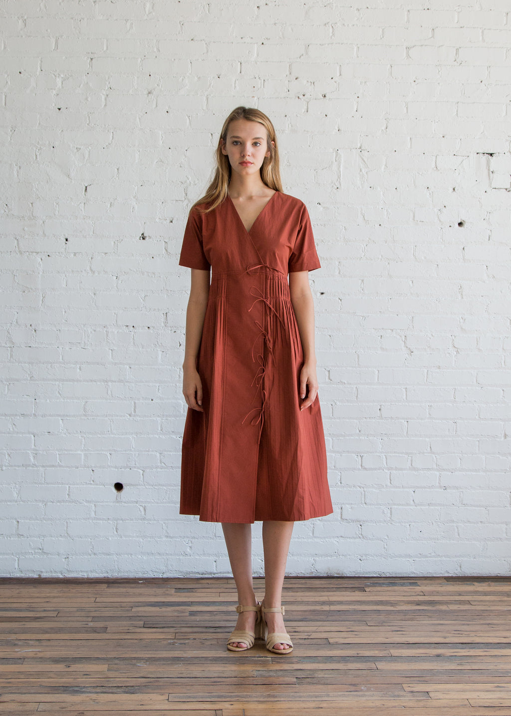 Caron Callahan Mica Dress Rust Cotton Poplin