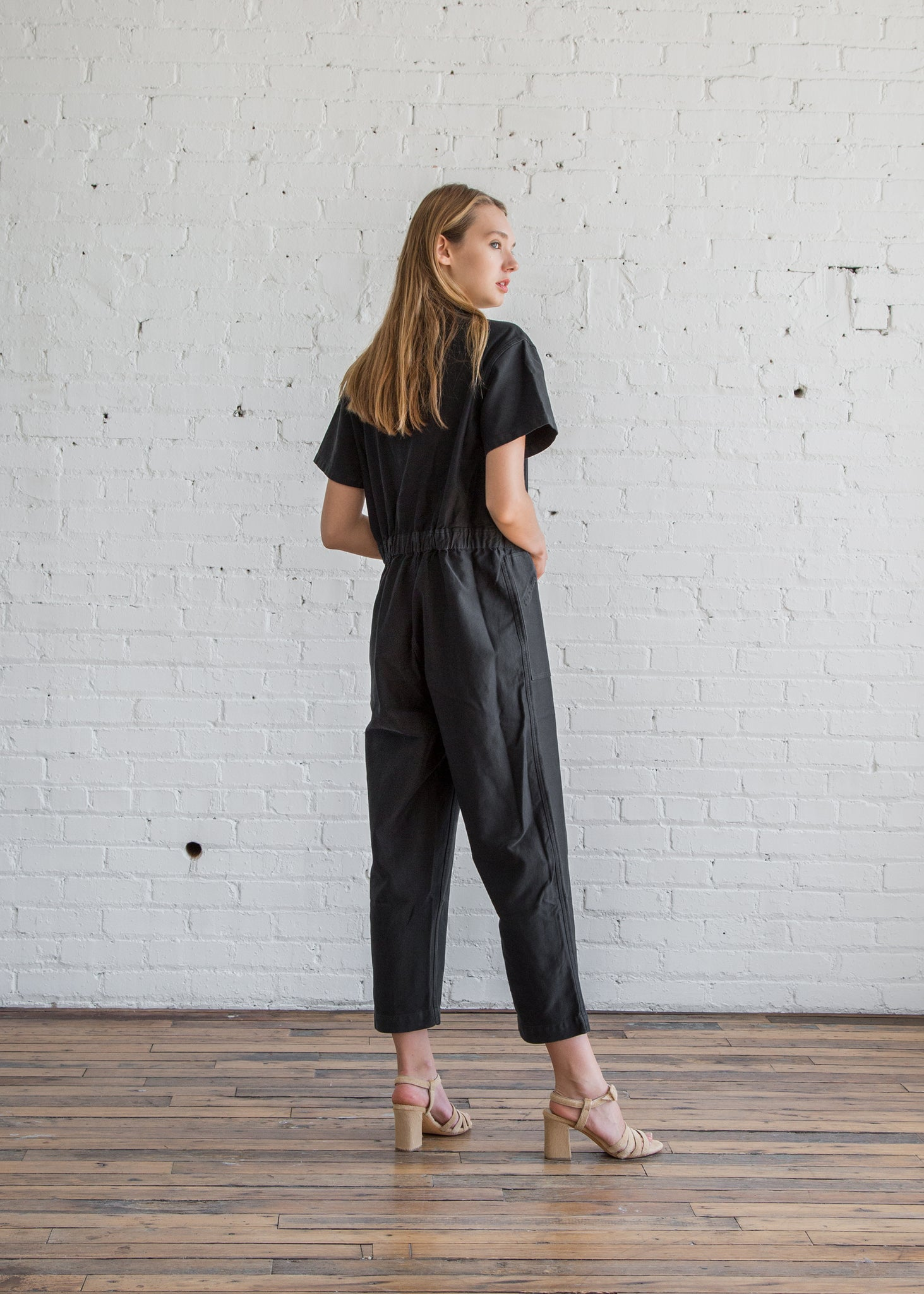 Caron Callahan Zip Foster Jumpsuit Faded Black Cotton - SOLD OUT